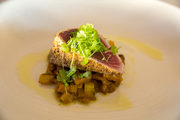 Cook Delicious Spice Crusted Tuna with Pickled Quince and Fennel Chutn
