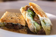 Enjoy Delicious Grilled Steak Sandwich on Turkish Bread with Chimichur