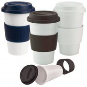 Personalised Ceramic Coffee Mug With Red Lid at Vivid Promotions Austr